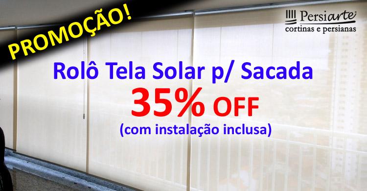 Cortina Rolô Tela Solar p/ Sacadas e Varandas